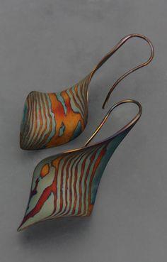 18k and Sterling Mokume Gane Large Anticlastic Twist earrings E-2112