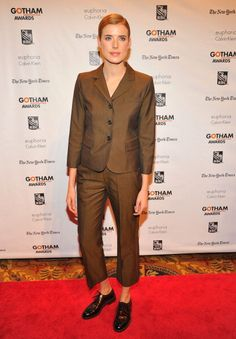 A modelo Agyness Deyn apostou em look boyish.  GETTY