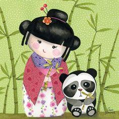 Kokeshi with panda Decoupage, Illustration Mignonne, Art Fantaisiste, Japan Crafts, Art Carte, Art Asiatique, Kokeshi Dolls, Momiji Doll, Asian Doll