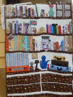 My fourth quilt - a book quilt for a friend Book Quilt, Book Making, Kitchen Furniture, Quilts, Blanket, Washing Machine, Wall, Greek, Rug
