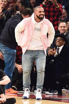 Drake wearing  OVO x Roots Leather Varsity Jacket, Jordan x OVO Air Jordan 8 Kentucky, OVO October Hoodie