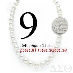 Pearls!  White Shell Pearl Necklace  with double-sided silver plated Delta Sigma Theta script, rotate for Delta Sigma Theta Greek Symbols. Perfect compliment to business and casual looks.