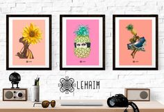 Pack 3 Prints Tropical style Vintage illustration por LehaimDesign