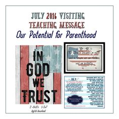 Mimi Lee Printables & More: July 2016 Visiting Teaching Message- 2 Versions Visiting Teaching Message, Visiting Teaching Handouts, Teaching Programs, Teaching Aids, Relief Society Handouts, Spiritual Thoughts, Messages, Digital, Printables
