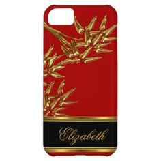 iPhone 5 Elegant Classy Asian Bamboo Red Gold Cover For iPhone 5C
