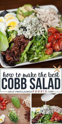 Perfect Cobb Salad has everything you want in a delicious salad including lots of greens, crisp bacon, shredded chicken, bleu cheese, hard b… in 2020 Salad Dressing Recipes, Chicken Salad Recipes, Healthy Salad Recipes, Healthy Chicken Salads, Salad With Chicken, Cobb Salad Dressing, Caesar Salad, Easy Salads, Summer Salads