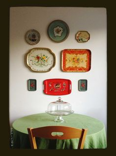 vintage trays as wall art