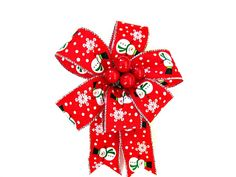 Snowman gift bow Red Christmas berry gift bow by JDsBowCreations