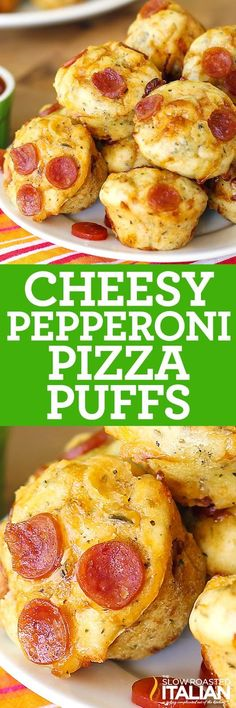 Bite Size Cheesy Pepperoni Pizza Puffs in 30 Minutes are just like your favorite pizza in bite size! A simple recipe and a scrumptious lunch or game day appetizer. Can't get much more fun than that. They freeze perfectly. Spritz them with water and either Appetizer Recipes, Snack Recipes, Appetizers, Cooking Recipes, Pizza Recipes, Pepperoni Recipes, Skillet Recipes, Cooking Tools, Dip Recipes