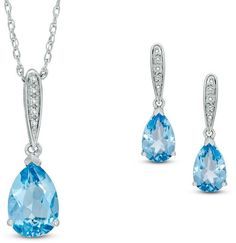 Zales Pear-Shaped Blue Topaz and Diamond Accent Pendant and Drop Earrings Set in Sterling Silver