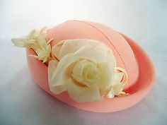 #Vintage #1970's pink pill box hat  with #cream silk flower decoration eastex uk,  View more on the LINK: http://www.zeppy.io/product/gb/2/221866496848/