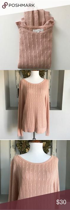 """LOFT Peach Knit Pullover Long Sleeve LOFT Peach Knit Pullover Long Sleeve - Medium - Even more gorgeous in person. Armpit to armpit roughly 19.5"""" long. Excellent condition. Fabric: 50% cotton, 40% rayon, 10% silk. LOFT Sweaters"""