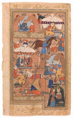 """""""Yusuf is Drawn Up from the Well"""", Folio from a Yusuf and Zulaikha of Jami Author: Maulana Nur al-Din `Abd al-Rahman Jami (1414–92) Object Name: Folio from an illustrated manuscript Date: second half 16th century Geography: Iran, Shiraz Culture: Islamic Medium: Opaque watercolor, and gold on paper Dimensions: Painting: Ht. 8 in. (20.3 cm) W. 4 5/8 in. (11.7 cm) Page: Ht. 9 in. (22.9 cm) W. 5 3/8 in. (13.7 cm) Mat: Ht. 19 1/4 in. (48.9 cm) W. 14 1/4 in. (36.2 cm)"""