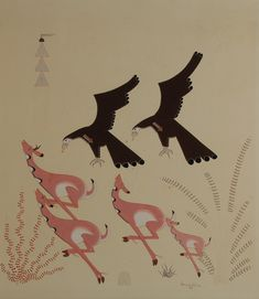 Eagles and Antelope by Gerald Nailor (1917-1952), Diné - Navajo Nation