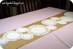 There's a good chance that you have all seen the pretty doily table runners that are making an appearance at weddings (and tea parties) ever. Girls Tea Party, Tea Party Birthday, Tea Parties, Shabby Chic Birthday, Shabby Chic Baby Shower, Tea Party Bridal Shower, Baby Shower Parties, Baby Showers, Tea Party Decorations