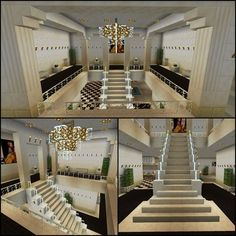 Minecraft Glass Stairs Chandelier Staircase - Charles - Pctr UP Villa Minecraft, Minecraft Staircase, Château Minecraft, Architecture Minecraft, Construction Minecraft, Modern Minecraft Houses, Minecraft Welten, Minecraft Mansion, Minecraft Interior Design