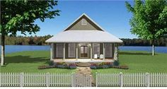 This bungalow house plan is a simple single story with a well-orchestrated floor plan.  The long, 6' wide hall provides a grand entrance.  The corridor leaves ample opportunity to display art and photographs for a warm invitation to your home.  The main rooms to the rear are open to each other and foster friendly interaction.  The two bedrooms are quite large for the home and each has a walk-in closet and a bathroom.