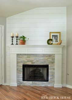Check out the steps I used to apply stonework to my fireplace. OH. MY. GOSH. love this fireplace, love the stone, LOVE the wall treatment behind it! just to add a hearth along the bottom....