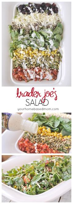 Trader Joes Salad is going to be your new favorite salad!  All ingredients can be purchased at Trader Joes or I provide alternatives too if you don't have a TJ near you.  @yourhomebasedmom  #traderjoes