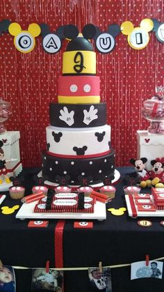 Awesome cake at a Mickey Mouse Birthday Party!  See more party planning ideas at CatchMyParty.com!