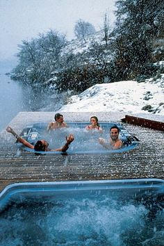 Outdoor hot tubs at Hotel Salto Chico, Patagonia, Chile