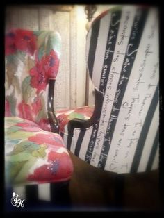 ❥ Painted Upholstery on Antique Chairs :: Hometalk