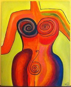 quadro dipinto a mano in acrilico round around di CeciliaFart