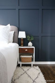 """A Comprehensive List of the Paint Colors in our Homes Wall Paint Valspar """"Dutch Licorice"""" Master Bedroom wall White Wall Bedroom, Accent Wall Bedroom, Home Bedroom, Bedroom Decor, Bedroom Wall Panels, Master Bedroom Wood Wall, Bedroom Wall Texture, Navy Bedroom Walls, Navy Master Bedroom"""