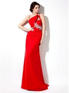 Evening Dresses - $154.99 - Sheath One-Shoulder Sweep Train Chiffon Evening Dress With Ruffle Beading Appliques  http://www.dressfirst.com/Sheath-One-Shoulder-Sweep-Train-Chiffon-Evening-Dress-With-Ruffle-Beading-Appliques-017002601-g2601
