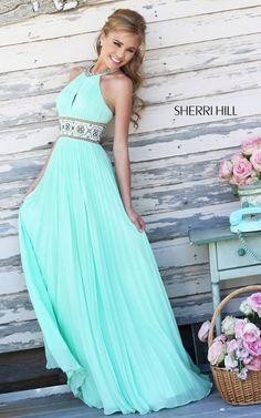 Sherri Hill 11251 Light Green Pleated Skirt Gown
