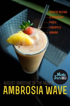 August's Smoothie of the month is the Ambrosia Wave. Loaded with peaches and strawberries, this is one tasty treat! and only $4.99 this August. Available at all three locations!