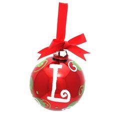 """Glass bulb Red ribbon 3"""" diameter Swirls Dots & Glitter"""