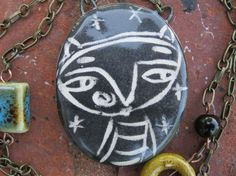 Handmade Ceramic Pendant with HandPieced Chain by SunnyCDolls, $35.00