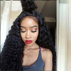 "Remeehi NEW Curly Brazilian Remy Human Hair Glueless Full Lace Wigs with Soft Baby Hair 130% Density (22"" 1"