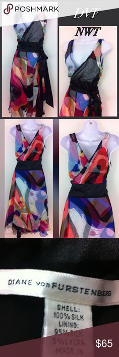 NWT Diane Von Furstenberg wrap silk dress Stunning vibrant silk dress, halter style wrap dress. Double layer but still semi sheer on top especially. This is reversible . Crepe soft colors on one side and darker silkier patter on other . No flaws tag size 4 Diane Von Furstenberg Dresses