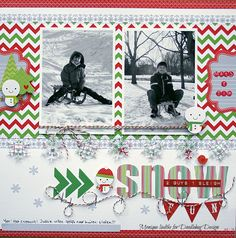 Snow scrapbooking page layout