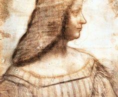 isabella d'este en de schets van Leonardo da Vinci. Op schilderij teruggevonden in Zwitserse kluis?  Boek 'De muze van Leonardo' van Karen Essex gaat over de zussen d'Este en de obsessie van Isabella om door da Vinci geschilderd te worden.