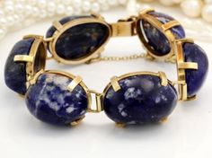 Antique C 1940 Art Deco 14k Yellow Gold Huge Sodalite Gem Estate Carved Bracelet in Jewelry & Watches, Vintage & Antique Jewelry, Fine, Art Nouveau/Art Deco 1895-1935, Bracelets | eBay