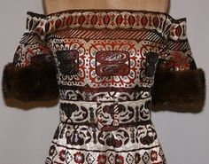 Vintage 1970's Oscar de La Renta Tapestry Brocade Off Shoulder Mink Gown Dress | eBay