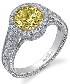 Buy me this, hon - yellow diamond vintage-inspired halo ring.