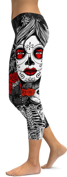Skeleton Sugar Skull Capris
