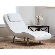 if youu0027ve been needing a comfortable and stylish chair for any space then try this loungey white euro chaise the chair features tufted detailing and a - Indoor Chaise Lounge Chairs