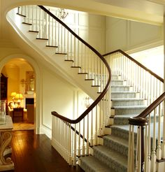 Thick planked dark wood floors, walls, curve of banister, wonderful carpet on stairs.  [Wright Building Company, Wright Homeworks LLC]