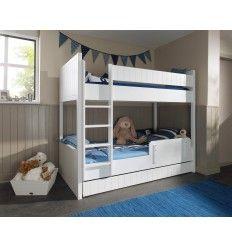 13093b73bf43c0 Lit superposé pour enfant avec tiroir-lit blanc laqué et bois MDF. Lit  Superposé