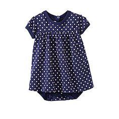 Petit Bateau US Official Online Store, PEBA-5216 Baby girl mini polka dot jersey bodysuit dress, petit-bateau.us