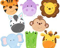 Gráfico digital selva Animal enfrenta lindo por Cherryclipart Barn Animals, Jungle Animals, Cute Animals, Clipart, Safari Party, Jungle Theme, Animal Faces, Animal Party, Zebras