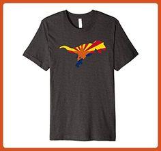 Mens PREMIUM State of Arizona Flag T-Rex Dinosaur Funny T-SHIRT XL Dark Heather - Animal shirts (*Partner-Link)