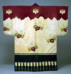 Dobuku Coat with Tsujigahana Designs of Paulowinas,   Arrows and Sliding Doors . Momoyama period (16th Century)  Important Cultural Property  IK 430 . All designs are rendered on a white ground with the painstaking, tsujigahana method of tie-dyeing. No supplemntary painting or printing has been added. This spectacular work is evidence of the bold confidence artists had in the Golden Age of Tsujigahana. Kyoto National Museum