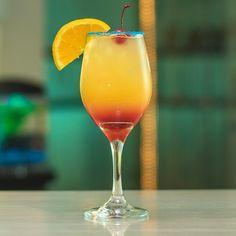 The Cure for Blue Balls - Tipsy Bartender Hpnotiq Drinks, Alcholic Drinks, Mango Cocktail, Mango Rum, Rum Cocktail Recipes, Cocktail Drinks, Cocktails, Pineapple Juice, Orange Juice