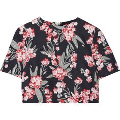 Jonathan Saunders Bibbi cropped floral-print twill top ($430) ❤ liked on Polyvore featuring tops, crop tops, pink, flower print top, pink crop top, zipper top, zip crop top and floral top